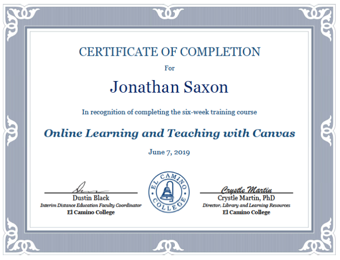 Distance Learning Certification